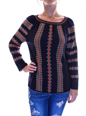 Pulover tricot cu model traditional